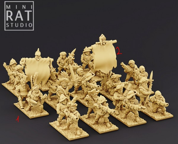 Empires of Man - Full Handgunners Regiment (MiniRat Style)