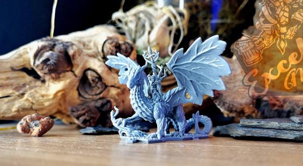Elves of the Wood Sorcerer on Forest Dragon